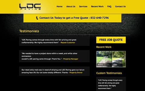 Screenshot of Testimonials Page ldcpaving.com - Testimonials | LDC Paving - captured Oct. 1, 2014