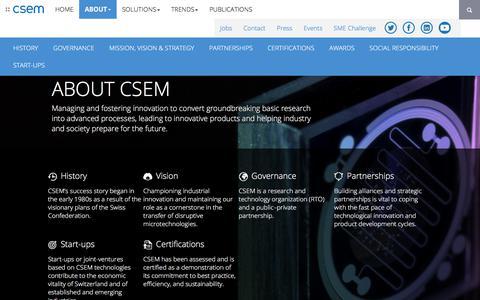 Screenshot of About Page csem.ch - CSEM - About CSEM - captured Sept. 25, 2018
