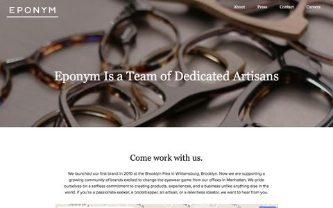 Screenshot of Jobs Page eponymous.co - We help brands create and distribute their own eyewear | Eponym - captured Feb. 1, 2016