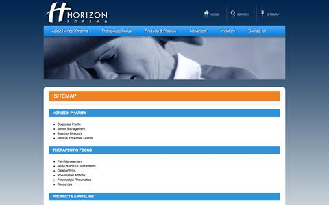 Screenshot of Site Map Page horizonpharma.com - Sitemap - Horizon Pharma - captured Sept. 16, 2014