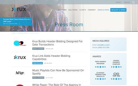 Screenshot of Press Page krux.com - Krux Press Room | Krux - captured Sept. 9, 2016