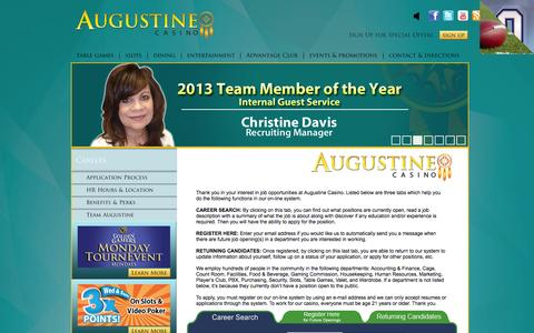 Screenshot of Jobs Page augustinecasino.com - Employment  | Augustine Casino (760) 391-9500 - captured Sept. 30, 2014