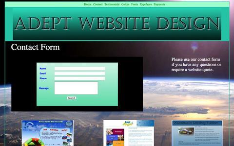 Screenshot of Contact Page adeptwebsitedesign.com - Adept Website Design & Hosting - Contact Page - captured Feb. 5, 2016