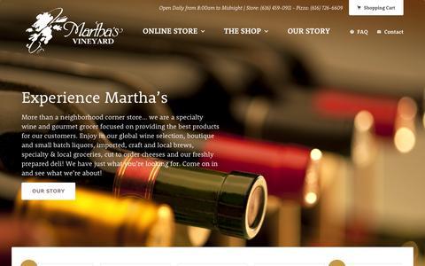 Screenshot of Home Page mvwines.com - Martha's Vineyard - captured Feb. 12, 2016
