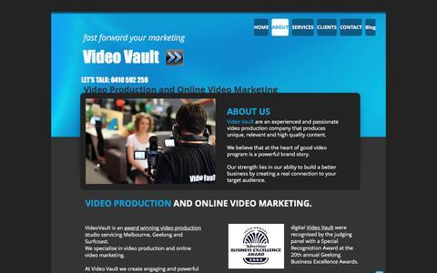 Screenshot of About Page videovault.com.au - video production geelong melbourne and surfcoast - captured Dec. 11, 2016