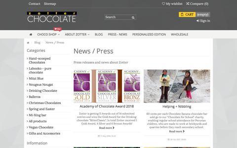 Screenshot of Press Page zotterusa.com - News and Press - captured July 9, 2018
