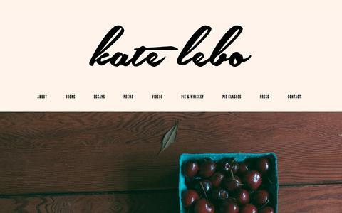 Screenshot of Contact Page katelebo.com - Contact | Kate Lebo - captured Feb. 1, 2018