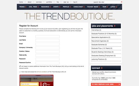 Screenshot of Signup Page thetrendboutique.co.uk - Trend Boutique trends, industry interviews & jobs for students in the design & creative industries - captured Oct. 28, 2014