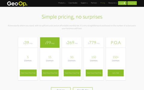 Screenshot of Pricing Page geoop.com - Pricing - captured Sept. 12, 2014