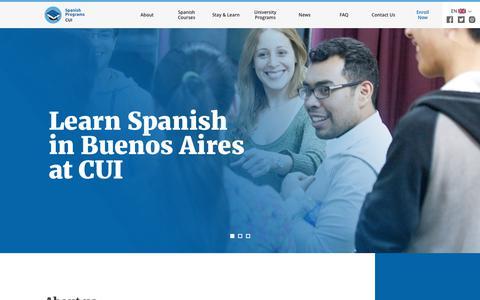Screenshot of Home Page cuispanish.com - Learn Spanish in Buenos Aires - CUI - Centro Universitario de Idiomas - captured Feb. 16, 2018