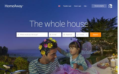 Screenshot of Home Page homeaway.co.uk - HomeAway - Holiday Lettings, Villas, Apartments & Cottages - captured Nov. 1, 2015