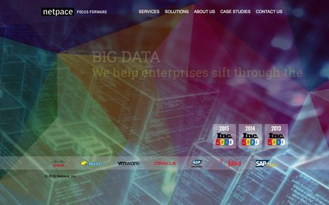 Screenshot of Home Page netpace.com - Cloud Computing, Consulting, Mobile Applications - Netpace Inc. - captured Jan. 20, 2016