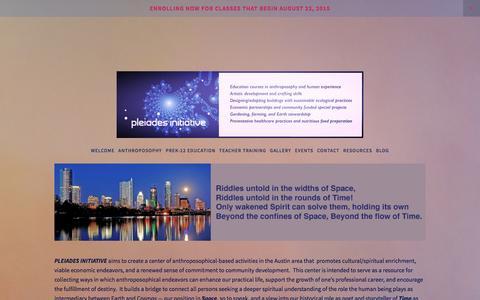 Screenshot of Home Page pleiadesinitiative.com captured Dec. 10, 2015