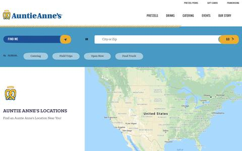 Screenshot of Locations Page auntieannes.com - Pretzels Near Me: Soft Pretzels Near Me | Auntie Anne's - captured Sept. 23, 2018