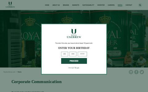 Screenshot of Press Page royalunibrew.com - Media - Royal Unibrew - captured June 15, 2017