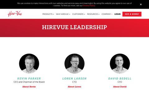 Screenshot of Team Page hirevue.com - HireVue Leadership Team | HireVue - captured March 18, 2019