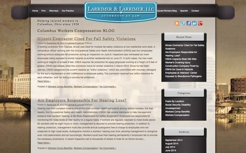 Screenshot of Blog larrimer.com - Columbus Workers Compensation BLOG - captured Oct. 1, 2014