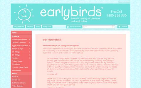 Screenshot of Testimonials Page earlybirds.com.au - Testimonials Earlybirds Australia - Premature Baby Clothing, Premium Earlybirds Baby Wear - captured July 15, 2018