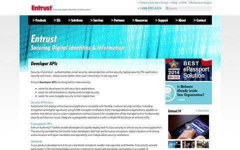 Screenshot of Developers Page entrust.com - Authentication Security Developer's Tools - Entrust - captured Oct. 10, 2014