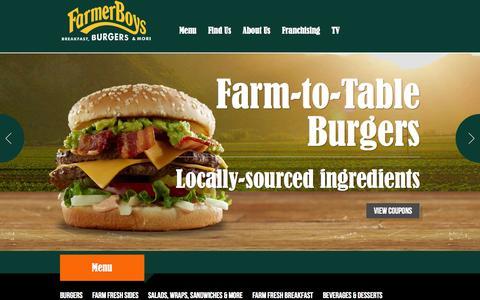 Screenshot of Home Page farmerboys.com - Farmer Boys - captured Sept. 22, 2014