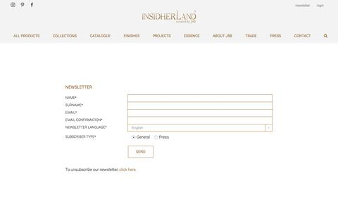 Screenshot of Signup Page insidherland.com - NEWSLETTER - INSIDHERLAND exclusive luxury furniture created by Joana Santos Barbosa - captured July 26, 2018