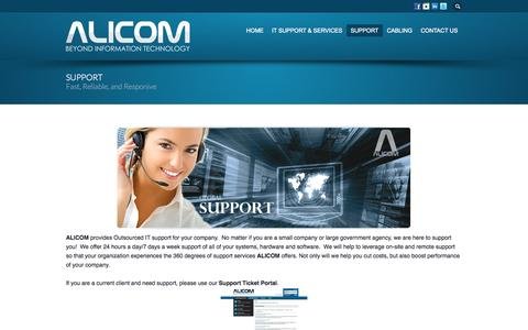 Screenshot of Support Page alicominc.com - Information Technology Support | 24/7 Fast and Reliable - captured Oct. 4, 2014