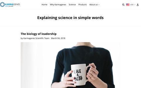 Screenshot of Press Page karmagenes.co - Explaining science in simple words                      – Karmagenes #meetyourself - captured Sept. 20, 2018