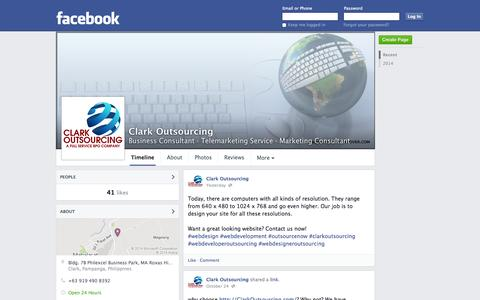 Screenshot of Facebook Page facebook.com - Clark Outsourcing - Clark, Pampanga, Philippines - Business Consultant, Telemarketing Service | Facebook - captured Oct. 28, 2014