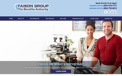 Screenshot of Home Page faisongroup.com - Group Health Insurance - Faison Group - captured Aug. 10, 2018