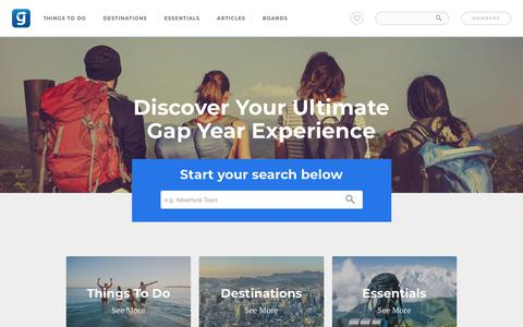 Screenshot of Home Page gapyear.com - Gap Year & Backpacking Travel | Gap Year - captured March 11, 2018