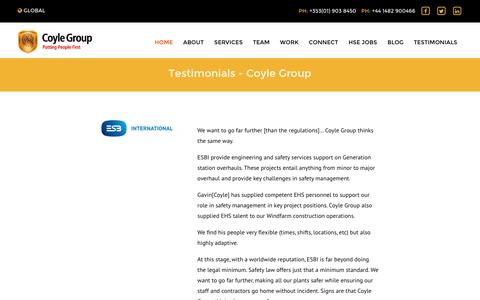 Screenshot of Testimonials Page coyle-group.com - Testimonials - Coyle Group - captured Nov. 13, 2016