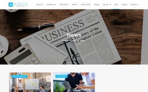 Screenshot of Press Page aquaproperties.com - News - Aqua Properties - captured Aug. 18, 2019