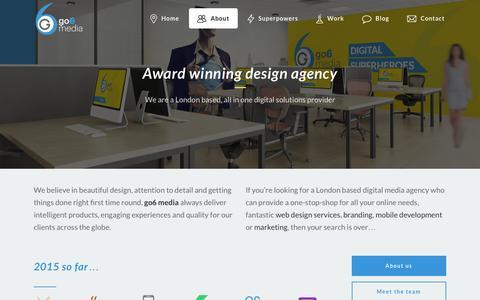 Screenshot of About Page go6.co.uk - go6 media, award winning digital design agency in London & Surrey - captured Dec. 13, 2015