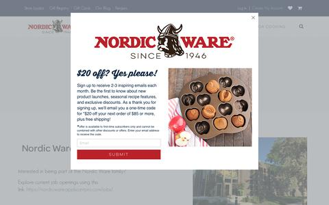 Screenshot of Jobs Page nordicware.com - Careers | Join Our Team | Nordic Ware - captured Sept. 23, 2018