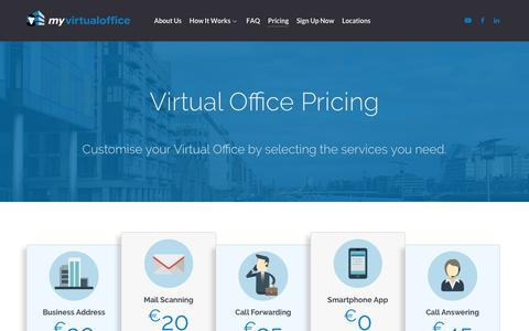 Screenshot of Pricing Page myvirtualoffice.ie - Pricing - My Virtual Office - captured Sept. 20, 2018