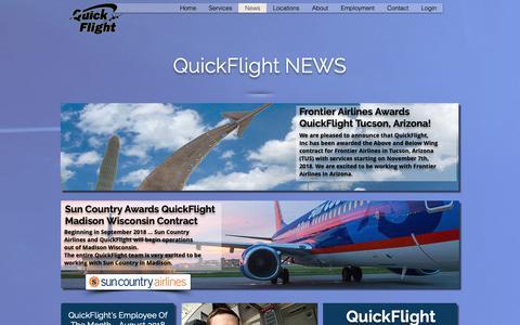 Screenshot of Press Page myqfservices.com - QuickFlight | News - captured Sept. 30, 2018