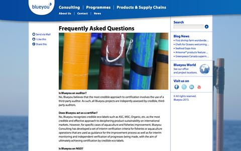 Screenshot of FAQ Page blueyou.com - blueyou.com, About Us, Frequestly Asked Questions - captured Oct. 5, 2014