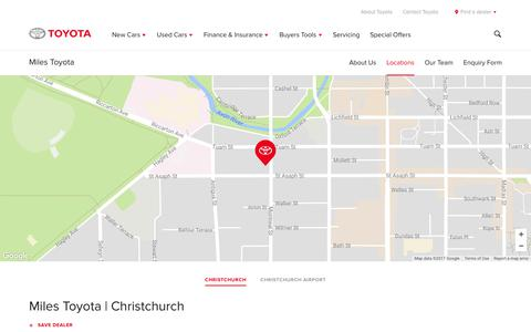 Screenshot of Locations Page toyota.co.nz - Miles Toyota | Christchurch - Toyota NZ - captured Nov. 14, 2017