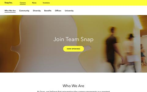 Screenshot of Jobs Page snap.com - Snap Inc. Careers | Who We Are - captured Oct. 21, 2018
