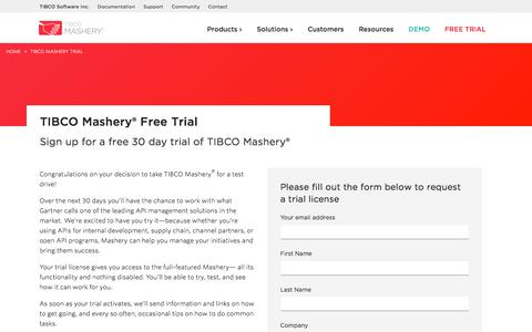 Screenshot of Trial Page mashery.com - TIBCO Mashery Trial | TIBCO Mashery® - captured Sept. 23, 2017