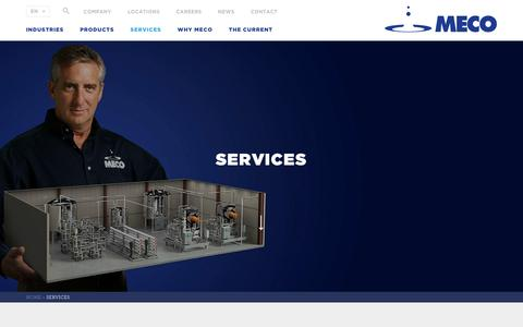 Screenshot of Services Page meco.com - Services | MECO Water Purification Systems, Water Purifier & Filtration, Reverse Osmosis - captured May 26, 2017