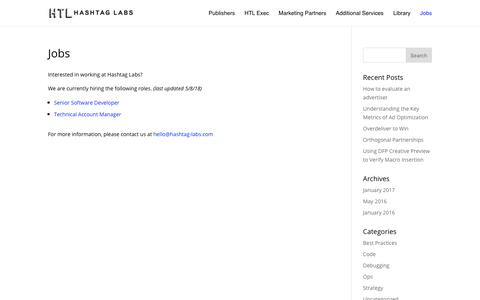 Screenshot of Jobs Page hashtag-labs.com - Jobs - Hashtag Labs - captured July 16, 2018