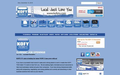 Screenshot of Jobs Page kofytv.com - Jobs | KOFY TV - captured Dec. 10, 2018