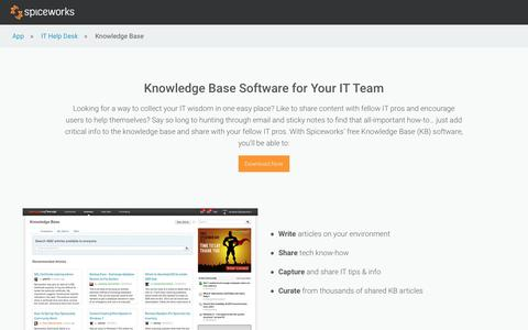 Free Knowledge Base (KB) Software from Spiceworks. Free IT Tips!