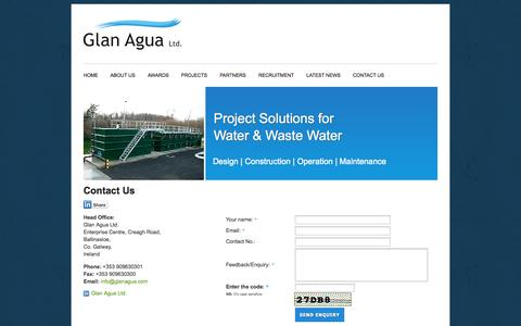 Screenshot of Contact Page glanagua.ie - Water and Wastewater Industry | design, construction, commissioning, operation and maintenance services | Glan Agua Ltd - captured Oct. 2, 2014