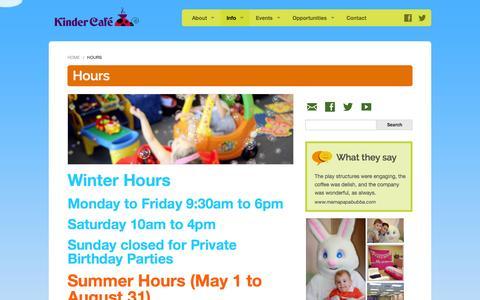 Screenshot of Hours Page kindercafe.ca - Hours - Kinder CafeKinder Cafe - captured Oct. 6, 2014