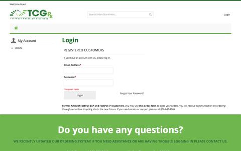 Screenshot of Login Page tcgrx.com - TCGRx | Pharmacy Workflow Solutions - captured April 24, 2018