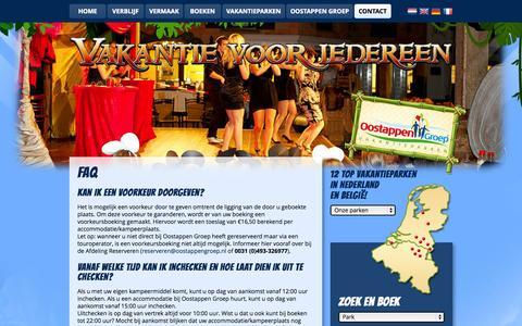 Screenshot of FAQ Page oostappenvakantieparken.nl - FAQ | Oostappen Vakantieparken - captured Nov. 2, 2014