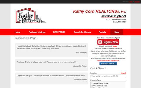 Screenshot of Testimonials Page sellingclovis.com - Testimonials Page | Kathy Corn | Kathy Corn Realtors, Inc | 575-763-7253 | Clovis New Mexico Homes for Sale - captured Oct. 15, 2018