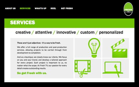 Screenshot of Services Page freshtvdc.com - Services | freshtv - captured Nov. 25, 2016